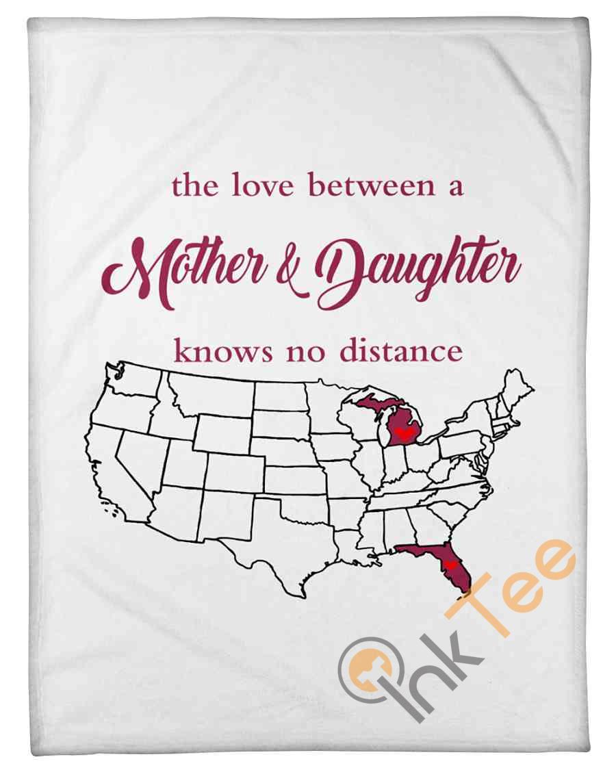 Love Between Mother And Daughter Michigan Florida Fleece Blanket