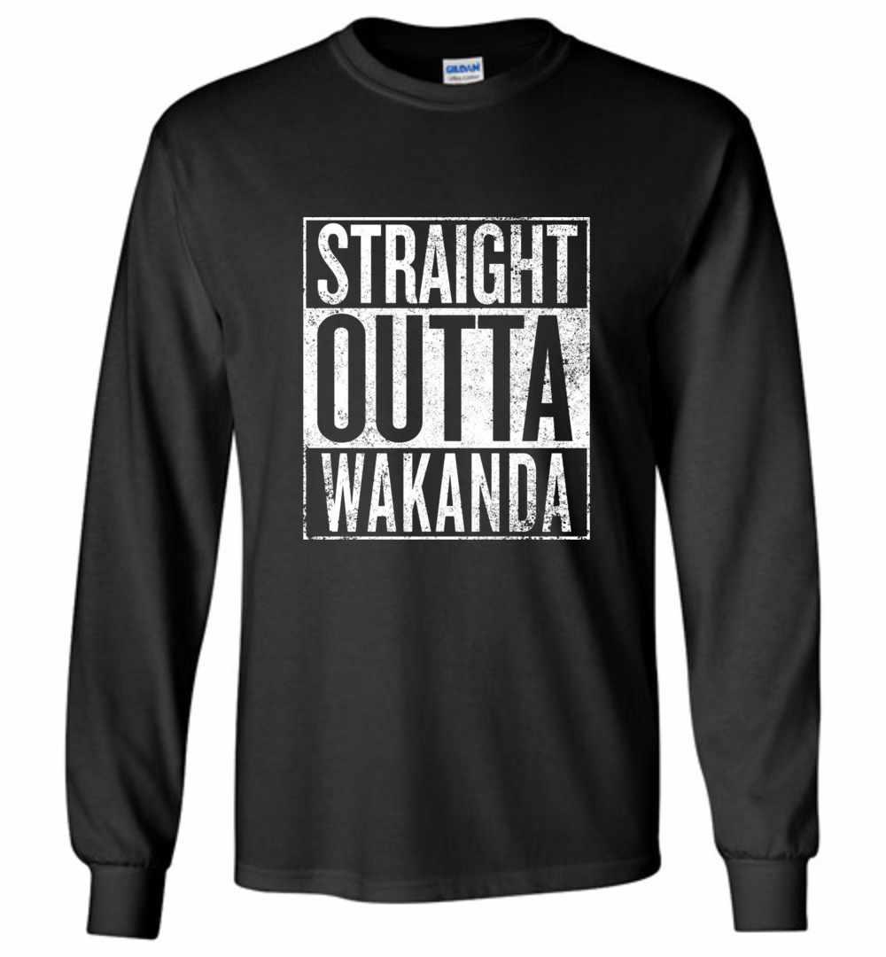199e9bdce Black Panther Straight Outta Wakanda Long Sleeve T Shirt Amazon Best Seller