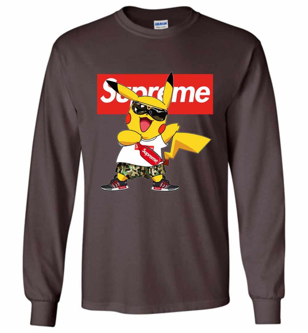 32b07b2a Pikachu Supreme Pokemon Long Sleeve T Shirt Amazon Best Seller