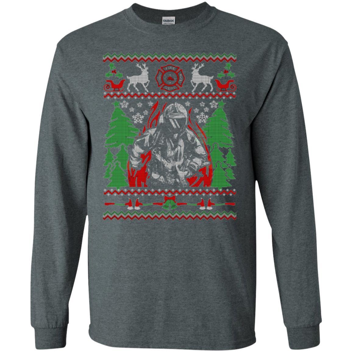 Firefighter Christmas Shirt.Firefighter Christmas Ugly Christmas Firefighter Long Sleeve T Shirt