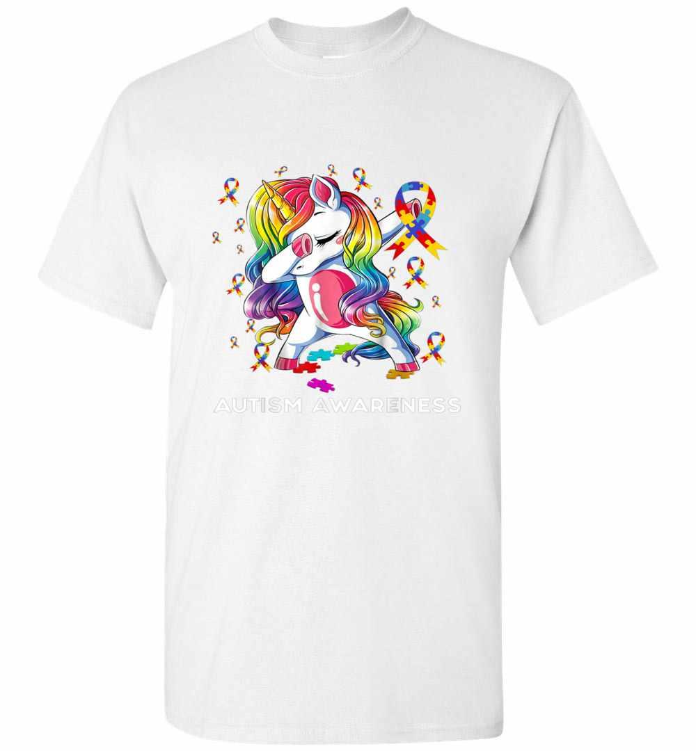 Dabbing Unicorn Puzzle Ribbon Autism Awareness Men's T-shirt